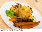 Купить «Image of plate with partridge», фото № 29756226, снято 21 марта 2019 г. (c) Яков Филимонов / Фотобанк Лори