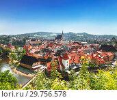 Купить «Top view of Cesky Krumlov, Czech Republic», фото № 29756578, снято 6 сентября 2014 г. (c) Наталья Волкова / Фотобанк Лори