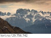 Купить «Snow-capped alps mountains in clouds», фото № 29756742, снято 11 мая 2017 г. (c) Михаил Коханчиков / Фотобанк Лори