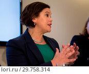 Sinn Féin holds a press conference in London with President Mary ... (2018 год). Редакционное фото, фотограф Wheatley / WENN / age Fotostock / Фотобанк Лори