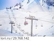 Aerial cableway at les Arcs ski area in France (2017 год). Стоковое фото, фотограф Сергей Новиков / Фотобанк Лори