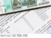Купить «Справка из пенсионного фонда России и российские деньги», эксклюзивное фото № 29768158, снято 16 января 2019 г. (c) Игорь Низов / Фотобанк Лори