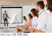 Купить «Side view of student group on lecture», фото № 29768362, снято 25 июля 2018 г. (c) Яков Филимонов / Фотобанк Лори