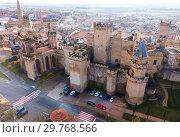 Купить «Aerial view of Royal Palace of Olite, Navarre, Spain», фото № 29768566, снято 3 декабря 2018 г. (c) Яков Филимонов / Фотобанк Лори