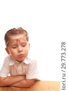 Купить «Positive little boy an elementary school student», фото № 29773278, снято 21 октября 2017 г. (c) Pavel Biryukov / Фотобанк Лори