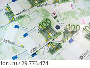 Купить «Euro bills background. Close up cash money.», фото № 29773474, снято 20 января 2019 г. (c) bashta / Фотобанк Лори