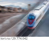 Купить «Speed of train traveling», фото № 29774042, снято 24 февраля 2020 г. (c) Яков Филимонов / Фотобанк Лори