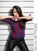 Купить «Cute young woman.», фото № 29774202, снято 26 апреля 2016 г. (c) Сергей Сухоруков / Фотобанк Лори