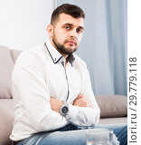 Distressful young male spending day alone. Стоковое фото, фотограф Яков Филимонов / Фотобанк Лори
