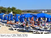 Купить «Ayia Napa, Cyprus - November 1. 2018. People on Sun loungers on Makronissos Beach Resort», фото № 29785570, снято 1 ноября 2018 г. (c) Володина Ольга / Фотобанк Лори