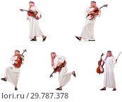 Купить «Arab man playing cello isolated on white», фото № 29787378, снято 8 июля 2020 г. (c) Elnur / Фотобанк Лори