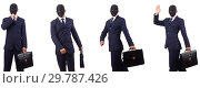 Купить «Man with mask and briefcase isolated on white», фото № 29787426, снято 17 июля 2019 г. (c) Elnur / Фотобанк Лори