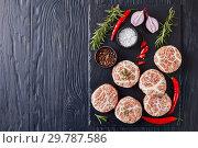 Купить «raw Atriaux, type of swiss sausages, flat lay», фото № 29787586, снято 21 января 2019 г. (c) Oksana Zh / Фотобанк Лори