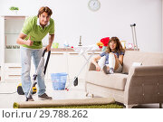 Купить «Husband helping leg injured wife in housework», фото № 29788262, снято 4 октября 2018 г. (c) Elnur / Фотобанк Лори