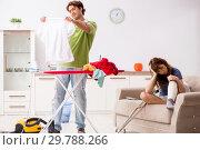Купить «Husband helping leg injured wife in housework», фото № 29788266, снято 4 октября 2018 г. (c) Elnur / Фотобанк Лори