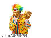 Купить «Male clown isolated on white», фото № 29789798, снято 28 сентября 2018 г. (c) Elnur / Фотобанк Лори