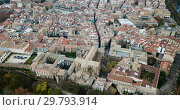 Aerial view of Pamplona medieval town with fortification in Navarre, Spain (2018 год). Стоковое видео, видеограф Яков Филимонов / Фотобанк Лори