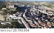 Купить «Aerial view of impressive medieval castle of Order of Calatrava on hill in town of Alcaniz, Spain», видеоролик № 29793934, снято 26 декабря 2018 г. (c) Яков Филимонов / Фотобанк Лори