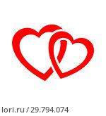 Купить «Two red hearts», иллюстрация № 29794074 (c) Сергей Лаврентьев / Фотобанк Лори