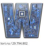 Купить «Letter W. Alphabet in circuit board style. Digital hi-tech letter isolated on white.», фото № 29794802, снято 8 декабря 2019 г. (c) Maksym Yemelyanov / Фотобанк Лори