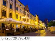 Lighted Torun streets (2018 год). Стоковое фото, фотограф Яков Филимонов / Фотобанк Лори