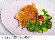Купить «Grilled partridge with steamed vegetables», фото № 29796458, снято 21 марта 2019 г. (c) Яков Филимонов / Фотобанк Лори
