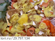 Купить «Food waste and garbage top view close-up texture and background», фото № 29797134, снято 30 декабря 2018 г. (c) Андрей Зарин / Фотобанк Лори