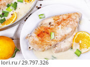 Купить «Курица с лимонами на белом фоне», фото № 29797326, снято 27 января 2019 г. (c) Марина Володько / Фотобанк Лори