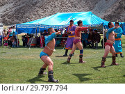 Mongolian nomad camp. Mongolian wrestlers wrestling in nature. (2017 год). Редакционное фото, фотограф Serg Zastavkin / Фотобанк Лори