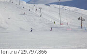Купить «Ski resort in Khibiny», видеоролик № 29797866, снято 11 марта 2016 г. (c) Юлия Бабкина / Фотобанк Лори