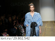 Купить «Model on the catwalk showing creations by the fashion designer Giada Curti. AltaRoma Fashion Week, Rome, Italy - 25 Jan 2019.», фото № 29802542, снято 25 января 2019 г. (c) age Fotostock / Фотобанк Лори