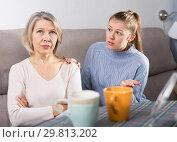 Купить «Mature mother and adult daughter quarrelling in domestic interior», фото № 29813202, снято 24 марта 2019 г. (c) Яков Филимонов / Фотобанк Лори
