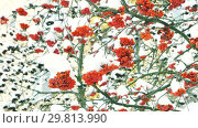 Купить «Clusters of rowan on the background of white snow», видеоролик № 29813990, снято 14 января 2019 г. (c) Константин Мерцалов / Фотобанк Лори