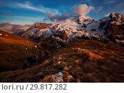 Marmolada from Viel del Pan, Moena, Fassa Valley, Dolomites, Trentino-Alto Adige, Italy. Стоковое фото, фотограф ClickAlps / age Fotostock / Фотобанк Лори