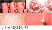 Купить «party food collage in living coral color», фото № 29820470, снято 17 сентября 2019 г. (c) Syda Productions / Фотобанк Лори