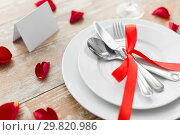 Купить «close up of table setting for valentines day», фото № 29820986, снято 9 февраля 2018 г. (c) Syda Productions / Фотобанк Лори