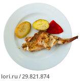 Купить «Top view of grilled rabbit thigh», фото № 29821874, снято 22 мая 2019 г. (c) Яков Филимонов / Фотобанк Лори