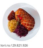 Купить «Fried duck breast Magre served with pickled cabbage, caramelized onions and jam», фото № 29821926, снято 11 июля 2020 г. (c) Яков Филимонов / Фотобанк Лори