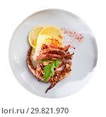 Купить «Top view of fried squid tentacles with potatoes», фото № 29821970, снято 24 февраля 2019 г. (c) Яков Филимонов / Фотобанк Лори