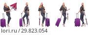 Купить «Young beautiful woman with suitcase and umbrella isolated on whi», фото № 29823054, снято 19 марта 2019 г. (c) Elnur / Фотобанк Лори