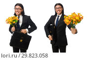 Handsome businessman with flower and brief case isolated on whit. Стоковое фото, фотограф Elnur / Фотобанк Лори