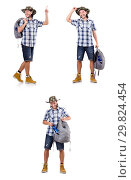 Купить «Young traveller with backpack pointing isolated on white», фото № 29824454, снято 14 ноября 2013 г. (c) Elnur / Фотобанк Лори