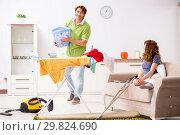 Купить «Husband helping leg injured wife in housework», фото № 29824690, снято 4 октября 2018 г. (c) Elnur / Фотобанк Лори
