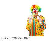 Купить «Male clown isolated on white», фото № 29825062, снято 28 сентября 2018 г. (c) Elnur / Фотобанк Лори