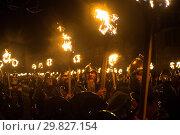 The Jarl Stewart Jamison leads his viking squad through Lerwick for... (2018 год). Редакционное фото, фотограф Euan Cherry / WENN.com / age Fotostock / Фотобанк Лори