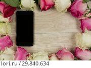 Купить «Mobile phone surrounded with rose flower», фото № 29840634, снято 11 октября 2018 г. (c) Wavebreak Media / Фотобанк Лори