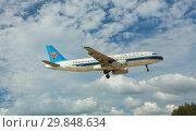 Купить «Airbus China flies in the sky», фото № 29848634, снято 27 ноября 2016 г. (c) Игорь Жоров / Фотобанк Лори