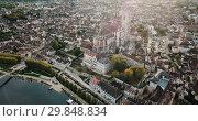 Купить «Aerial view of historic city of Auxerre with Roman Catholic Cathedral, Burgundy, France», видеоролик № 29848834, снято 24 октября 2018 г. (c) Яков Филимонов / Фотобанк Лори