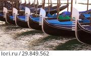 Купить «Носы пришвартованных гондол крупным планом ранним утром. Венеция, Италия», видеоролик № 29849562, снято 27 сентября 2017 г. (c) Виктор Карасев / Фотобанк Лори