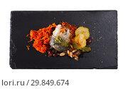 Купить «Scomber fish roll with bacon», фото № 29849674, снято 25 января 2020 г. (c) Яков Филимонов / Фотобанк Лори